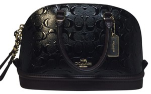 Coach Imitation Gold Signature Pebbled Leather Satchel in Black/Oxblood