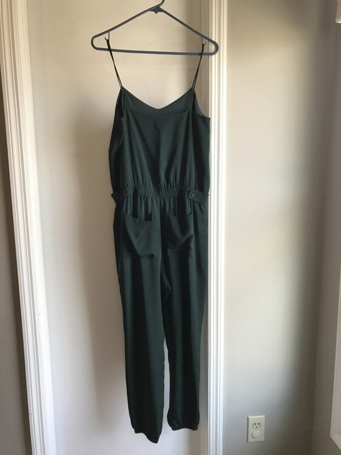 Theory Jumpsuit Silk Relaxed Pants Green