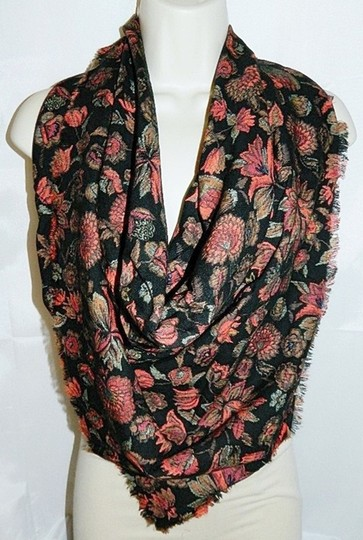 Unknown Floral Print Scarf Muffler Reversible Neck Wrap Fringed Vintage
