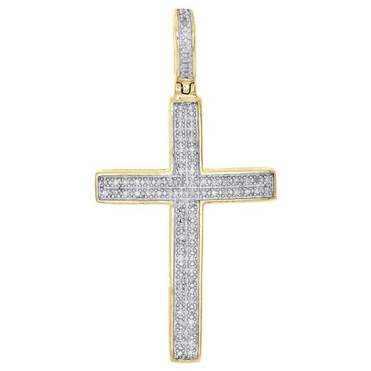 Preload https://img-static.tradesy.com/item/22854682/jewelry-for-less-yellow-gold-10k-diamond-dome-cross-pendant-140-unisex-025-ct-charm-0-0-540-540.jpg