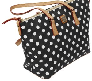 Dooney & Bourke Zipper Large Polka Dot Tote in Black