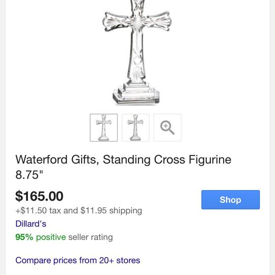 Waterford Crystal Standing Cross Decoration