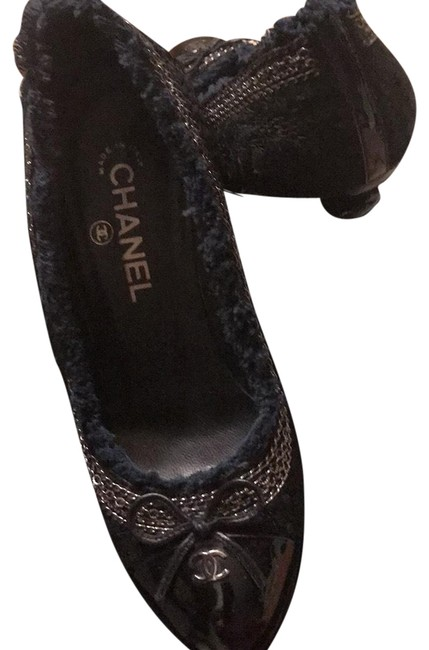 Item - Black and Blue with Silver Two Tone Tweed Pump Platforms Size US 7.5 Regular (M, B)