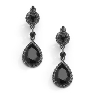 Mariell Black Jet Crystal Clip-on with Teardrop Dangles 4532ec-bk Earrings