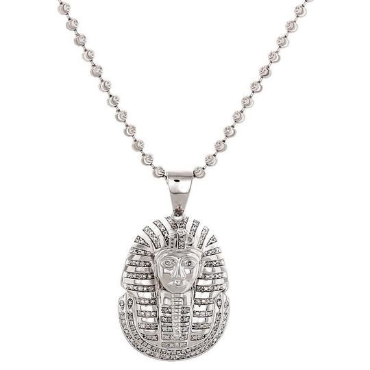 Jewelry For Less Diamond King Tut Pendant .925 Sterling Silver with Moon-cut Chain