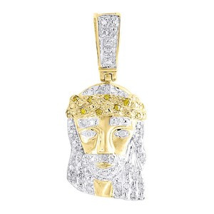 Jewelry For Less Yellow Diamond Crying Jesus Face Pendant 10K Yellow Gold Charm 0.16 CT