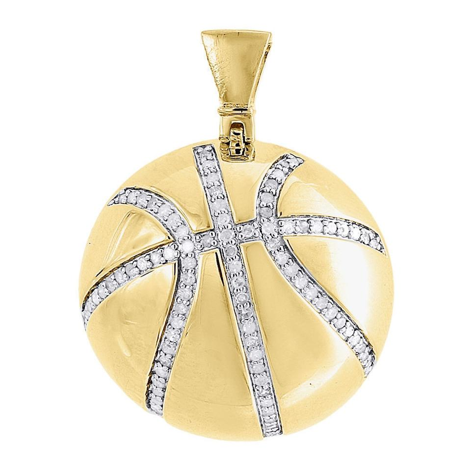 Jewelry for less yellow diamond basketball pendant sterling silver jewelry for less diamond basketball pendant sterling silver yellow sports charm 055 ct mozeypictures Gallery