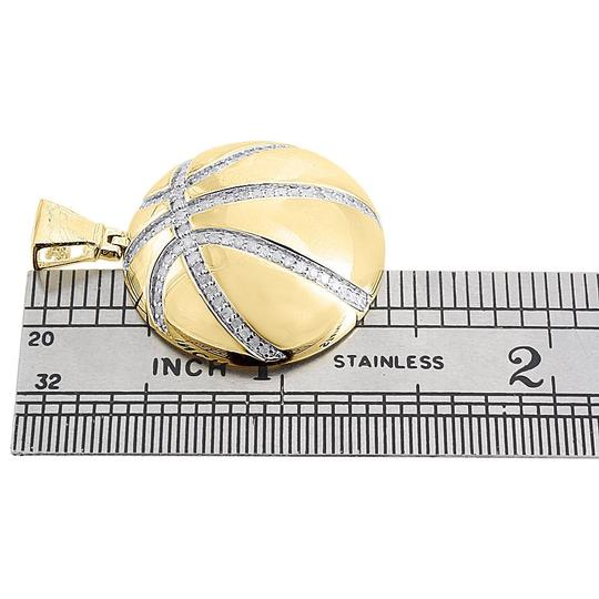 Jewelry For Less Diamond Basketball Pendant Sterling Silver Yellow Sports Charm 0.55 Ct