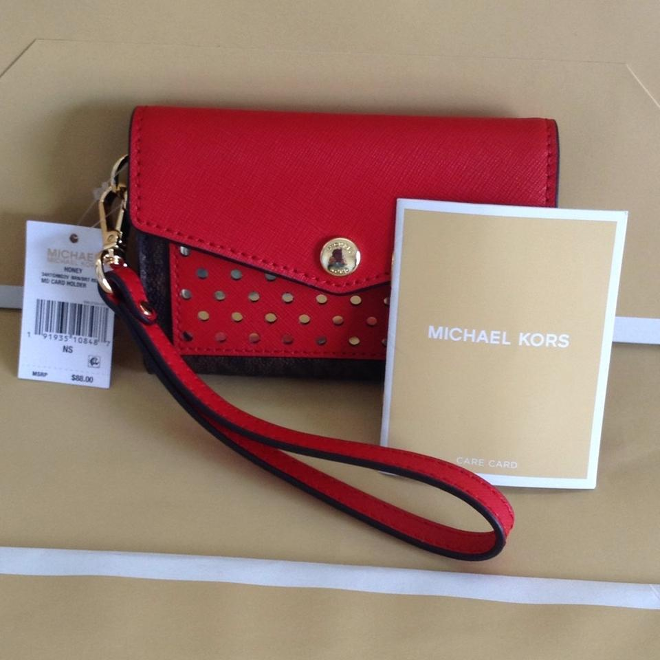 65c127ae33a9 Michael Kors Brown Red Honey Medium Card Holder Wristlet Wallet - Tradesy