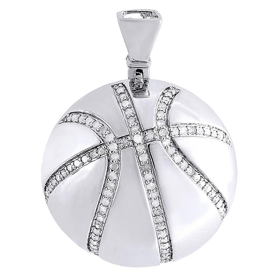 Jewelry for less silver diamond basketball pendant 925 sterling jewelry for less diamond basketball pendant 925 sterling silver sports charm 055 ct aloadofball Image collections