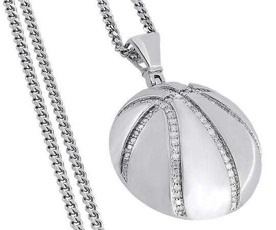 Jewelry For Less Diamond Basketball Pendant .925 Sterling Silver Sports Charm 0.55 Ct