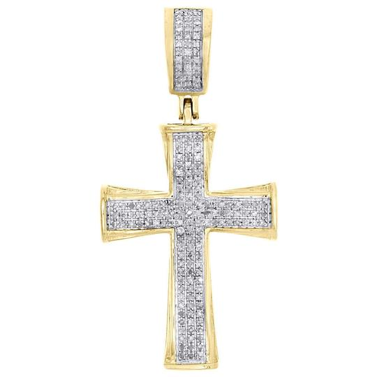 Preload https://item5.tradesy.com/images/jewelry-for-less-yellow-gold-10k-diamond-cross-concave-pendant-145-pave-14-ct-charm-22854844-0-0.jpg?width=440&height=440