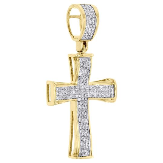 Jewelry For Less 10K Yellow Gold Diamond Cross Concave Pendant 1.45