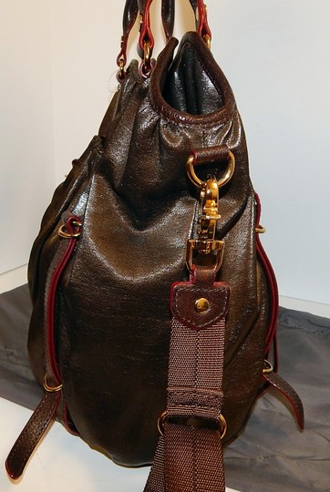 MZ Wallace Nylon Leather Tote Crossbody Satchel in Brown