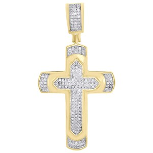 Jewelry For Less 10K Yellow Gold Diamond Cross Dome Pendant Tier Pave Charm 1/4 CT