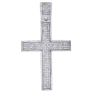 Jewelry For Less Diamond Dome Cross Charm Sterling Silver White Finish Pendant 1 CT.