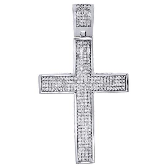 Preload https://item5.tradesy.com/images/jewelry-for-less-silver-diamond-dome-cross-sterling-white-finish-pendant-1-ct-charm-22854874-0-0.jpg?width=440&height=440