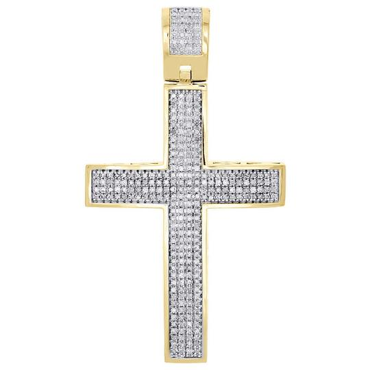 Preload https://img-static.tradesy.com/item/22854884/jewelry-for-less-yellow-diamond-dome-cross-sterling-silver-finish-pendant-1-ct-charm-0-0-540-540.jpg