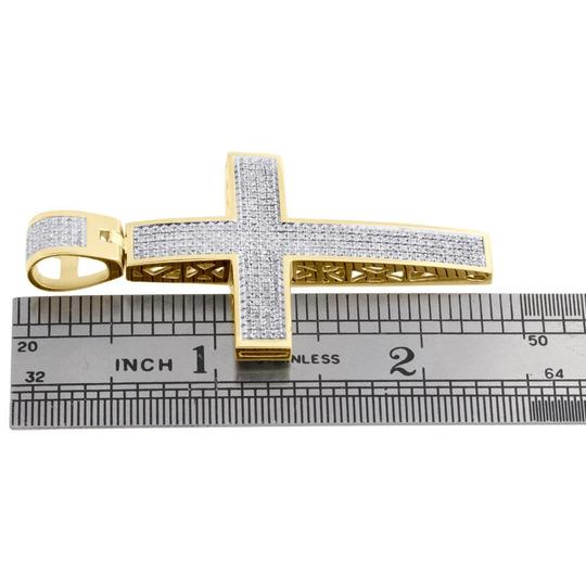 Jewelry For Less Diamond Dome Cross Charm Sterling Silver Yellow Finish Pendant 1 CT.