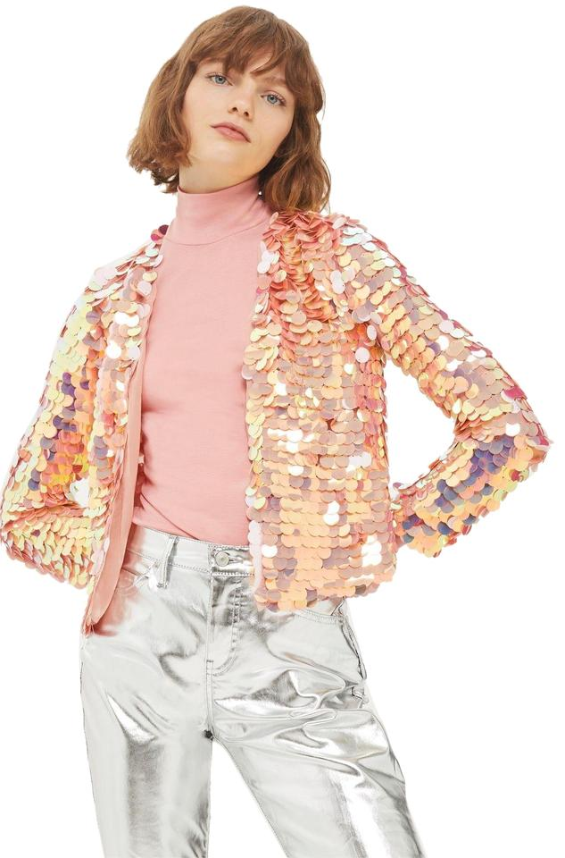 42495ef7866ae8 Topshop Pink Peach Circle Sequin Jacket Size 4 (S) - Tradesy