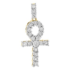 Jewelry For Less 10K Yellow Gold Diamond Egyptian Ankh Cross Pendant Mini Charm 0.26 Ct