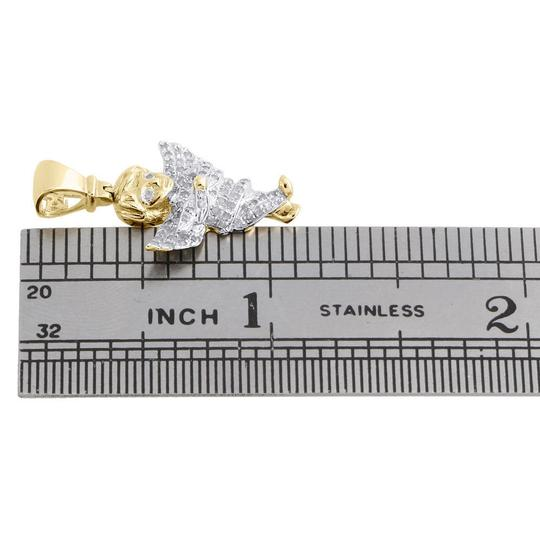 Jewelry For Less 10K Yellow Gold Diamond Angel Pendant Flying Praying Hand Charm 1/4 CT