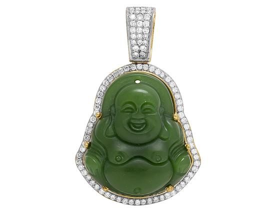 Preload https://img-static.tradesy.com/item/22854957/jewelry-unlimited-10k-yellow-gold-diamond-synthetic-jade-buddha-pendant-133-ct-2-charm-0-0-540-540.jpg
