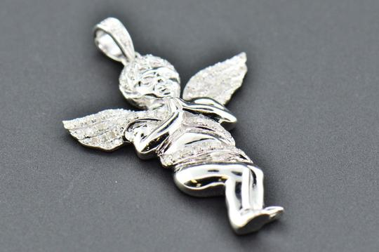 Jewelry For Less Diamond Angel 3D Pendant .925 Sterling Silver Mini Charm Pave 0.50 CT