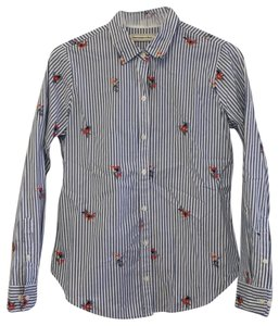 Abercrombie & Fitch Button Down Shirt White / Blue Stripe / Floral Multi Embroidery