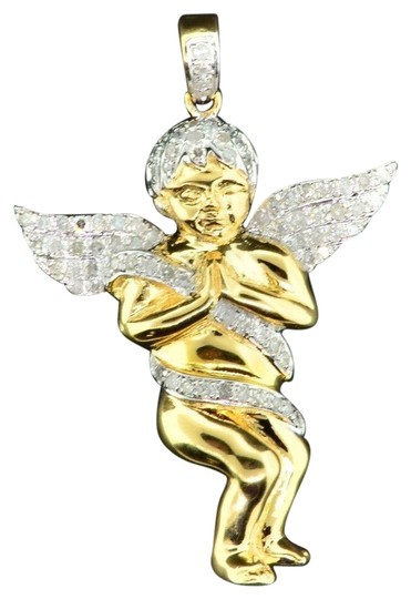 Preload https://item5.tradesy.com/images/jewelry-for-less-yellow-diamond-angel-3d-pendant-925-sterling-silver-050-ct-charm-22854979-0-1.jpg?width=440&height=440