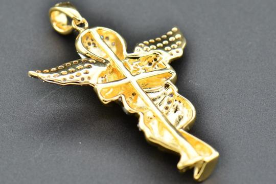 Jewelry For Less Diamond Angel 3D Pendant .925 Sterling Silver Yellow Charm 0.50 CT