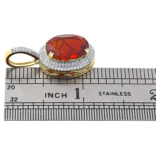 Jewelry For Less 10K Yellow Gold Diamond & Red Oval Gemstone Pendant 1.20