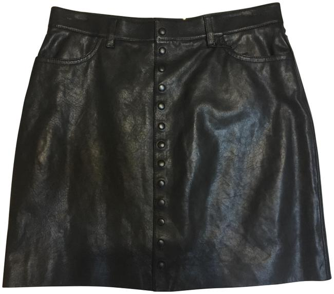 Saint Laurent Fall 2014 Leather Italian Mini Skirt Black