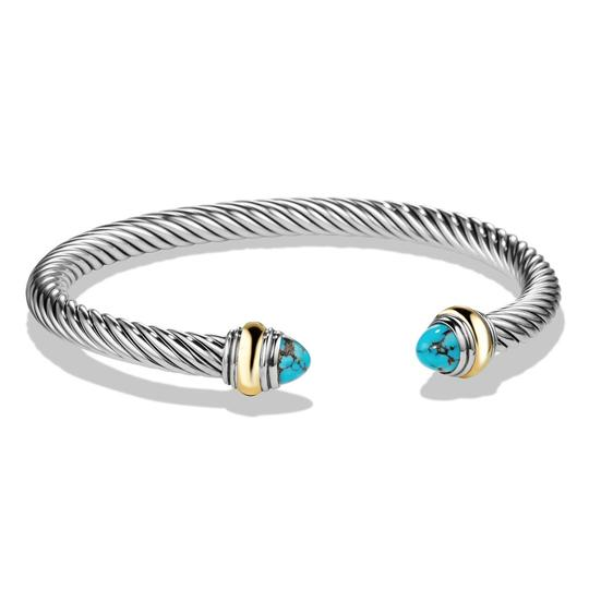 David Yurman David Yurman Silver Cable Classic Bracelet With Turquoise & 14K YG