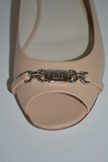 Gucci Leather Horsebit Beige Flats