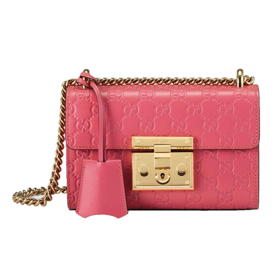 640fbaf6e4a3 Gucci Women s Signature Gg 409487 Candy Pink Leather Cross Body Bag ...