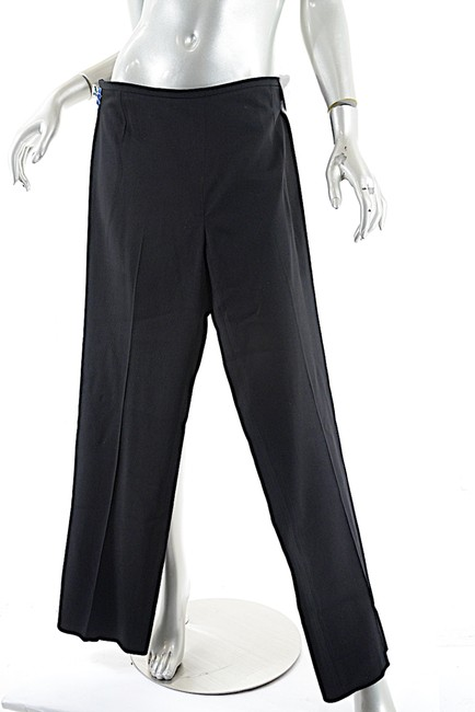 Armani Collezioni Wool Clean Front Trouser Pants Black