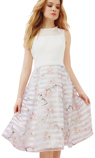 Preload https://item3.tradesy.com/images/ted-baker-light-grey-monah-blossom-print-mesh-detail-mid-length-workoffice-dress-size-12-l-22855102-0-1.jpg?width=400&height=650
