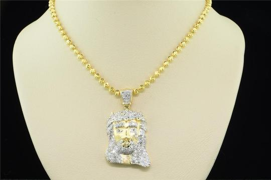 Jewelry For Less Diamond Jesus Face Pendant Sterling Silver Yellow Charm 0.76 Ctw.