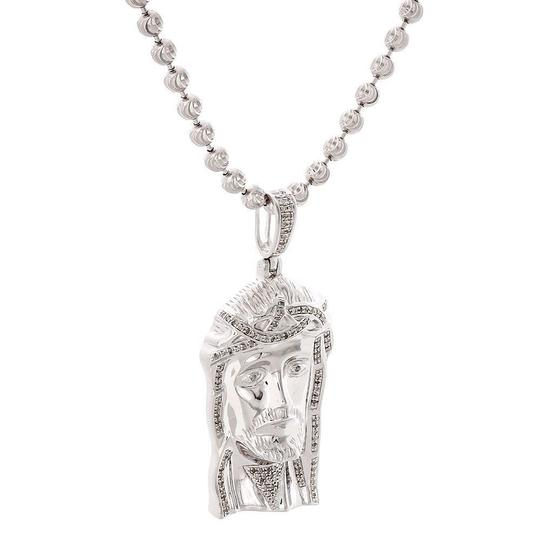 Jewelry For Less .925 Sterling Silver Diamond Jesus Face Piece Pendant Charm 0.75 CT