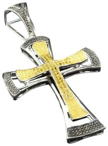 Jewelry For Less Yellow Diamond Cross Pendant 925 Sterling Silver Mens Charm