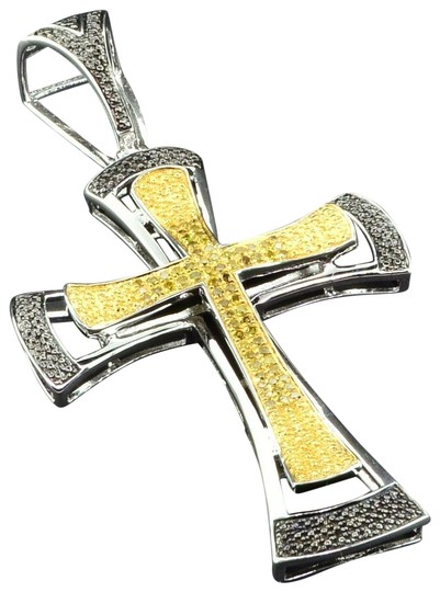 Preload https://item2.tradesy.com/images/jewelry-for-less-silver-yellow-diamond-cross-pendant-925-sterling-mens-charm-22855176-0-1.jpg?width=440&height=440