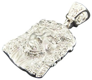 Jewelry For Less Diamond Jesus Face Pendant Piece 10K White Gold 0.20 Ct Mini Charm