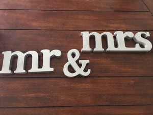 Metallic Silver Wood Wooden Mr & Mrs Sign Other