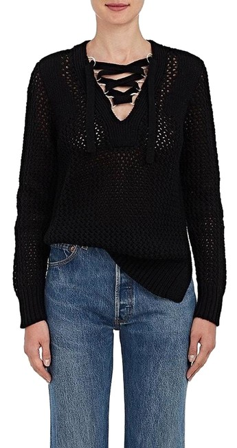 Preload https://item5.tradesy.com/images/derek-lam-black-10-crosby-open-knit-cotton-lace-up-sweaterpullover-size-8-m-22855214-0-1.jpg?width=400&height=650