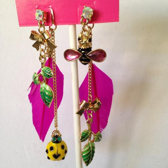 Betsey Johnson Betsey Johnson 2 Ways To Wear Bees & Ladybug In Enamel Dangle Earrings Only! Matching Necklace Sold Seperately. Image 1