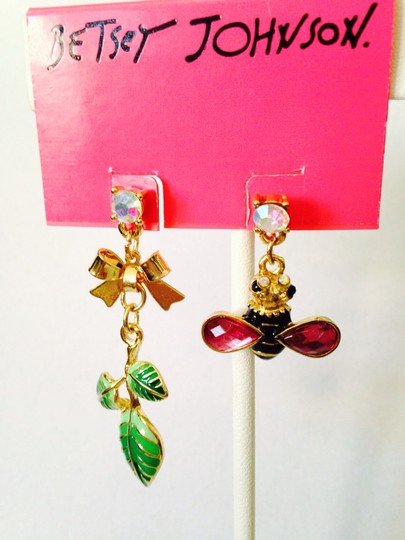Betsey Johnson Betsey Johnson 2 Ways To Wear Bees & Ladybug In Enamel Dangle Earrings Only! Matching Necklace Sold Seperately. Image 2
