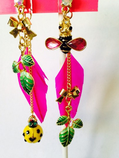 Betsey Johnson Betsey Johnson 2 Ways To Wear Bees & Ladybug In Enamel Dangle Earrings Only! Matching Necklace Sold Seperately. Image 3