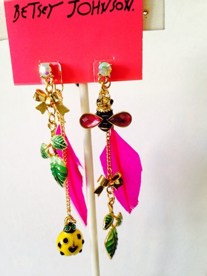 Betsey Johnson Betsey Johnson 2 Ways To Wear Bees & Ladybug In Enamel Dangle Earrings Only! Matching Necklace Sold Seperately. Image 6