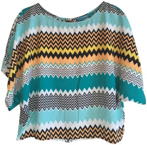 Buttons Geometric Orange Zig Zag Top Blue